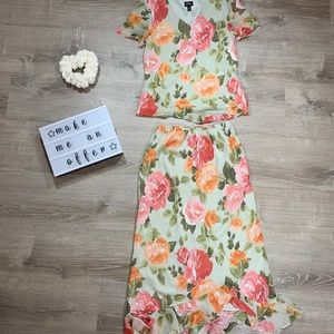 ❌SOLD❌MSK women's floral print two piece dress